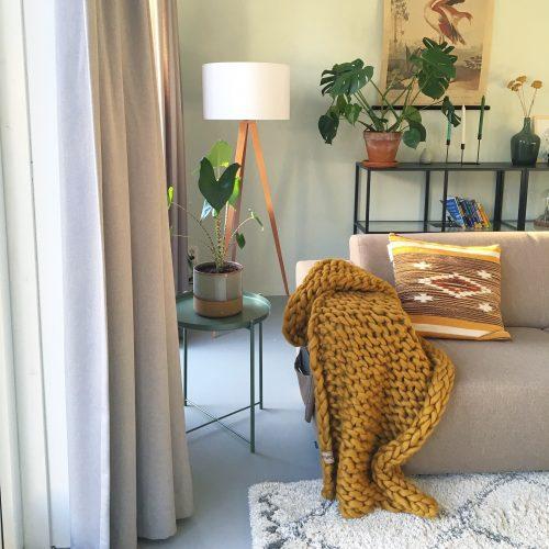 wolletje bol bolletje wol chunky knit merino wool woollen plaid blanket pillow cushion ochre yellow throw