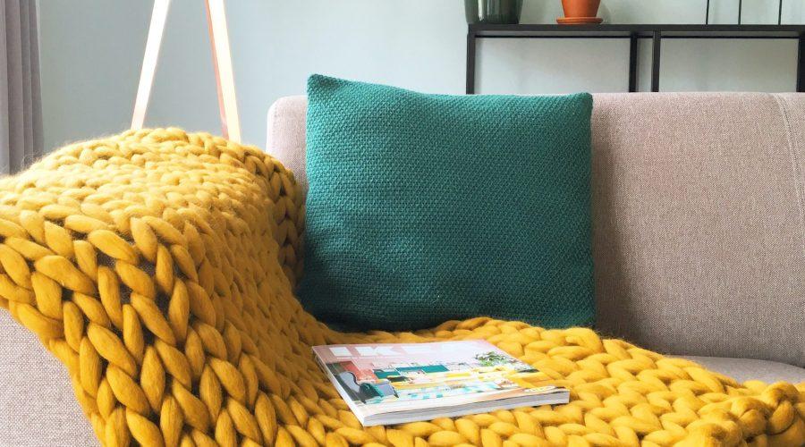chunky handgemaakt merino grof gebreid plaid deken kussens wol zomerplaid wolwit plaid okergeel
