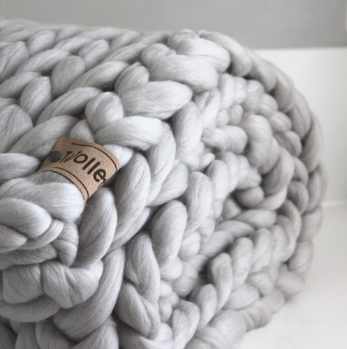 Zilvergrijs plaid biologische wol