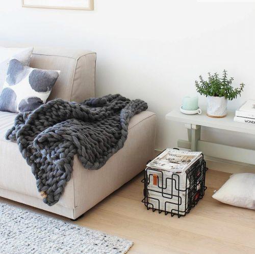 chunky knit xxl merino wool woollen plaid blanket throw pillow cushion ash grey.throw