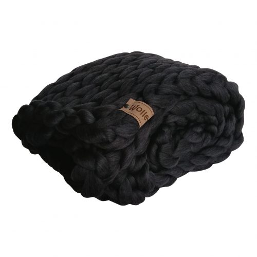 wolletje bol bolletje wol chunky knit xxl merino wool woollen plaid blanket throw pillow cushion black