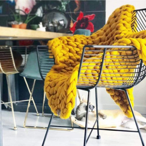 wolletje bol bolletje wol chunky knit merino wool woollen plaid blanket pillow cushion sunny ochre throw organic wool
