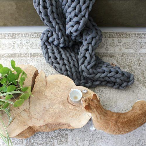 xxl knit crochet plaid bolletje wol bolletje wolletje ash grey throw chunky cotton vegan childfriendly animalfriendly