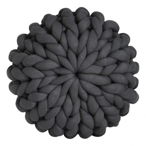 Ash grey pillow chunky organic cotton mouse dark grey anthracite pouf xxl knit crochet plaid bolletje wol bolletje wolletje big cotton vegan childfriendly animalfriendly wolletjebol