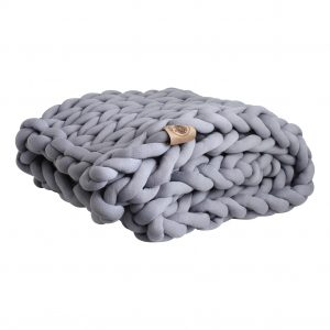 Blue grey throw chunky organic cotton xxl knit crochet plaid bolletje wol bolletje wolletje big cotton vegan childfriendly animalfriendly wolletjebol