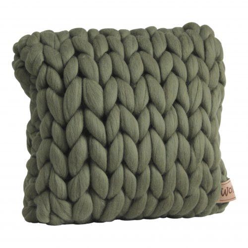 wolletje bol bolletje wol chunky knit xxl merino wool woollen plaid blanket throw pillow cushion moss green pillow square cushion organic wool