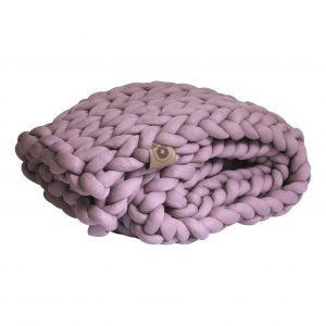 Mauve plaid chunky organic cotton pink purple heavy weight blanket xxl knit crochet plaid bolletje wol bolletje wolletje big cotton vegan childfriendly animalfriendly wolletjebol