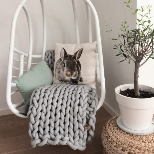 xxl knit crochet plaid bolletje wol bolletje wolletje mouse light silver grey throw chunky cotton vegan childfriendly animalfriendly