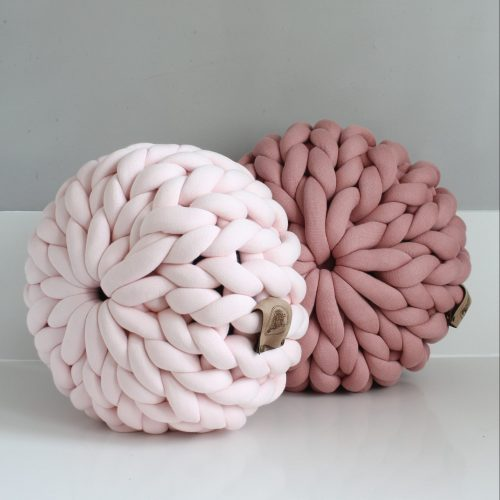 Pouf pastel pink and old pink organic cotton