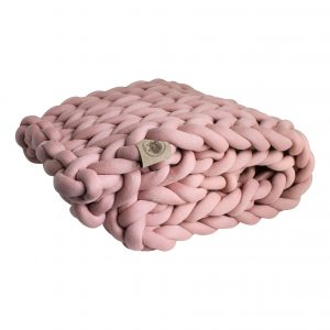 Oudroze plaid chunky katoen roze dusty pink cotton grof gebreid gebreide deken cotton bolletje wol bolletje wolletje vegan kindvriendelijk huisdiervriendelijk gots biologisch verantwoord xxl armbreien