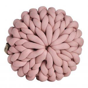Oudroze poef chunky katoen roze dusty pink cotton grof gebreid gebreide deken cotton bolletje wol bolletje wolletje vegan kindvriendelijk huisdiervriendelijk gots biologisch verantwoord xxl armbreien
