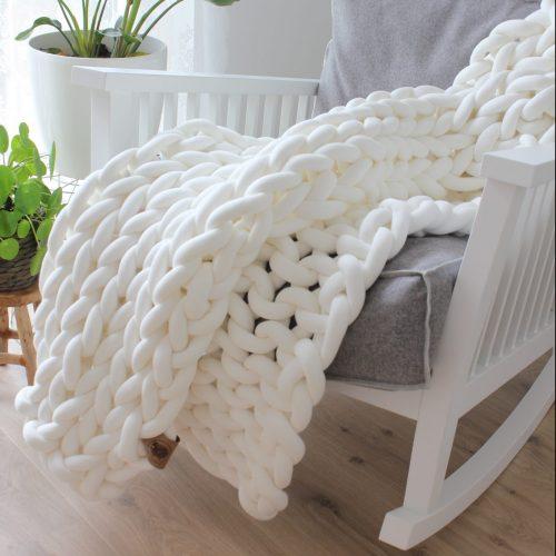 Cream white throw organic cotton