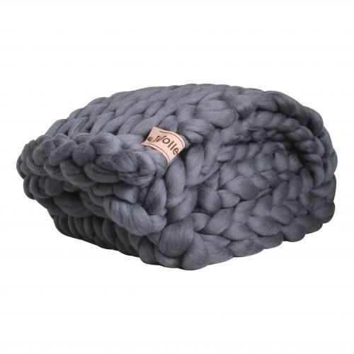 wolletje bol bolletje wol chunky knit merino wool woollen plaid blanket pillow cushion ash grey throw organic wool