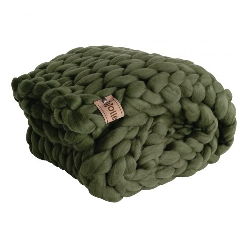 chunky merino grof gebreid plaid deken kussens wol zomerplaid grijs lichtgrijs olijfgrijs plaid bolletje wol bolletje wolletje mosgroen plaid biologisch gots