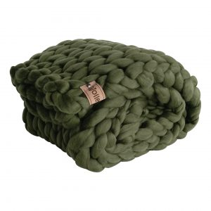 wolletje bol bolletje wol chunky knit merino wool woollen plaid blanket pillow cushion moss green throw organic wool