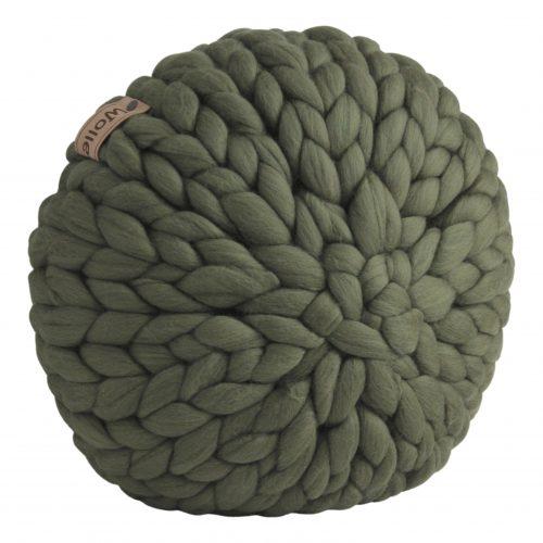 wolletje bol bolletje wol chunky knit merino wool woollen plaid blanket throw cushion moss green pillow organic wool gots xxl
