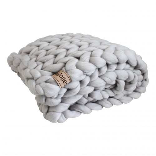wolletje bol bolletje wol chunky knit merino wool woollen plaid blanket pillow cushion silver grey throw organic wool