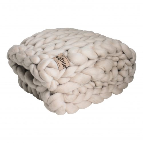 wolletje bol bolletje wol chunky knit xxl merino wool woollen plaid blanket throw pillow cushion sand beige linen organic wool do it yourself diy buy merino wool
