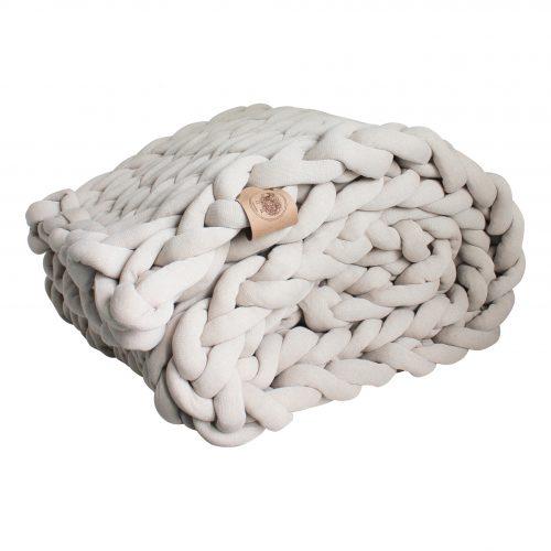 grof gebreid gebreide deken cotton bolletje wol bolletje wolletje beige zand linnen plaid chunky katoen cotton vegan wol kindvriendelijk huisdiervriendelijk
