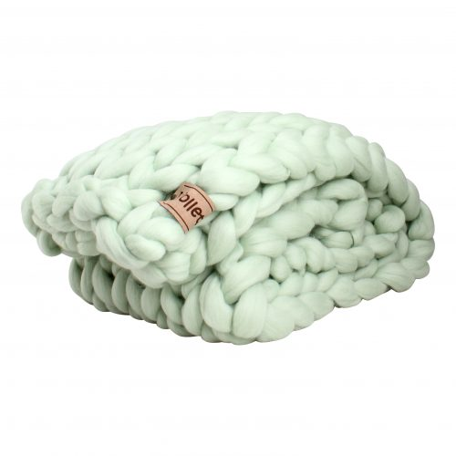 wolletje bol bolletje wol chunky knit merino wool woollen plaid blanket throw pillow cushion mint green organic wool gots