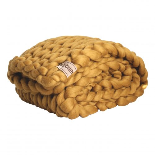 wolletje bol bolletje wol chunky knit xxl merino wool woollen plaid blanket throw pillow cushion sale - ochre yellow throw