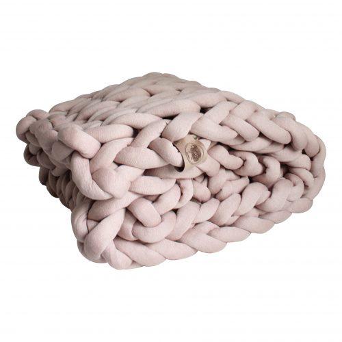 grof gebreid gebreide deken cotton bolletje wol bolletje wolletje zachtroze oudroze plaid chunky katoen cotton vegan wol kindvriendelijk huisdiervriendelijk