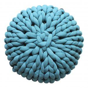 xxl knit crochet plaid bolletje wol bolletje wolletje petrol pouf chunky cotton vegan childfriendly animalfriendly footstool pouffe