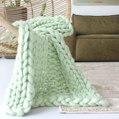 wolletje bol bolletje wol chunky knit merino wool woollen plaid blanket throw pillow cushion mint green throw organic wool