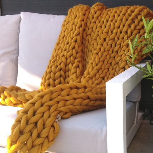 wolletje bol bolletje wol chunky knit xxl merino wool woollen plaid blanket throw pillow cushion mustard yellow sunny ochre throw organic wool do it yourself diy buy merino wool