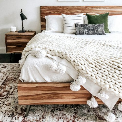 wolletje bol bolletje wol chunky knit merino wool woollen plaid blanket throw pillow cushion moss green organic wool