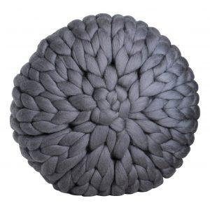 wolletje bol bolletje wol chunky knit merino wool woollen plaid blanket throw cushion asg grey pillow organic wool gots xxl
