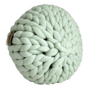 wolletje bol bolletje wol chunky knit merino wool woollen plaid blanket throw cushion decorative pillow mint green organic wool