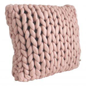 chunky merino grof gebreid plaid deken kussens wol plaid bolletje wol bolletje wolletje oudroze kussen sierkussen oudroze vierkant biologische wol