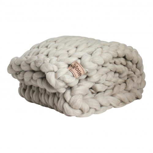 wolletje bol bolletje wol chunky knit xxl merino wool woollen plaid blanket pillow cushion taupe grey throw