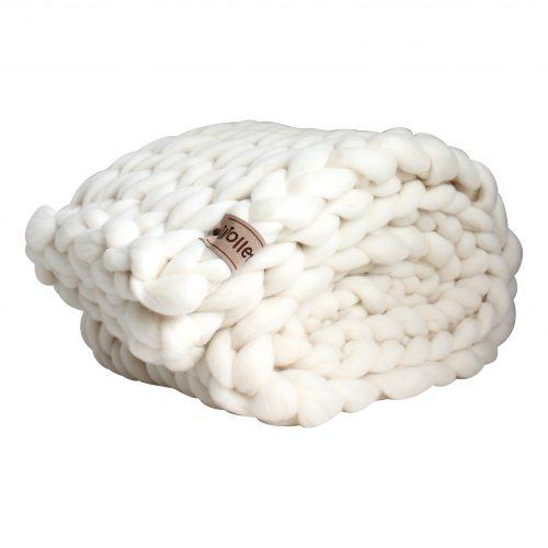 wolletje bol bolletje wol chunky knit xxl merino wool woollen plaid blanket pillow cushion wool white throw