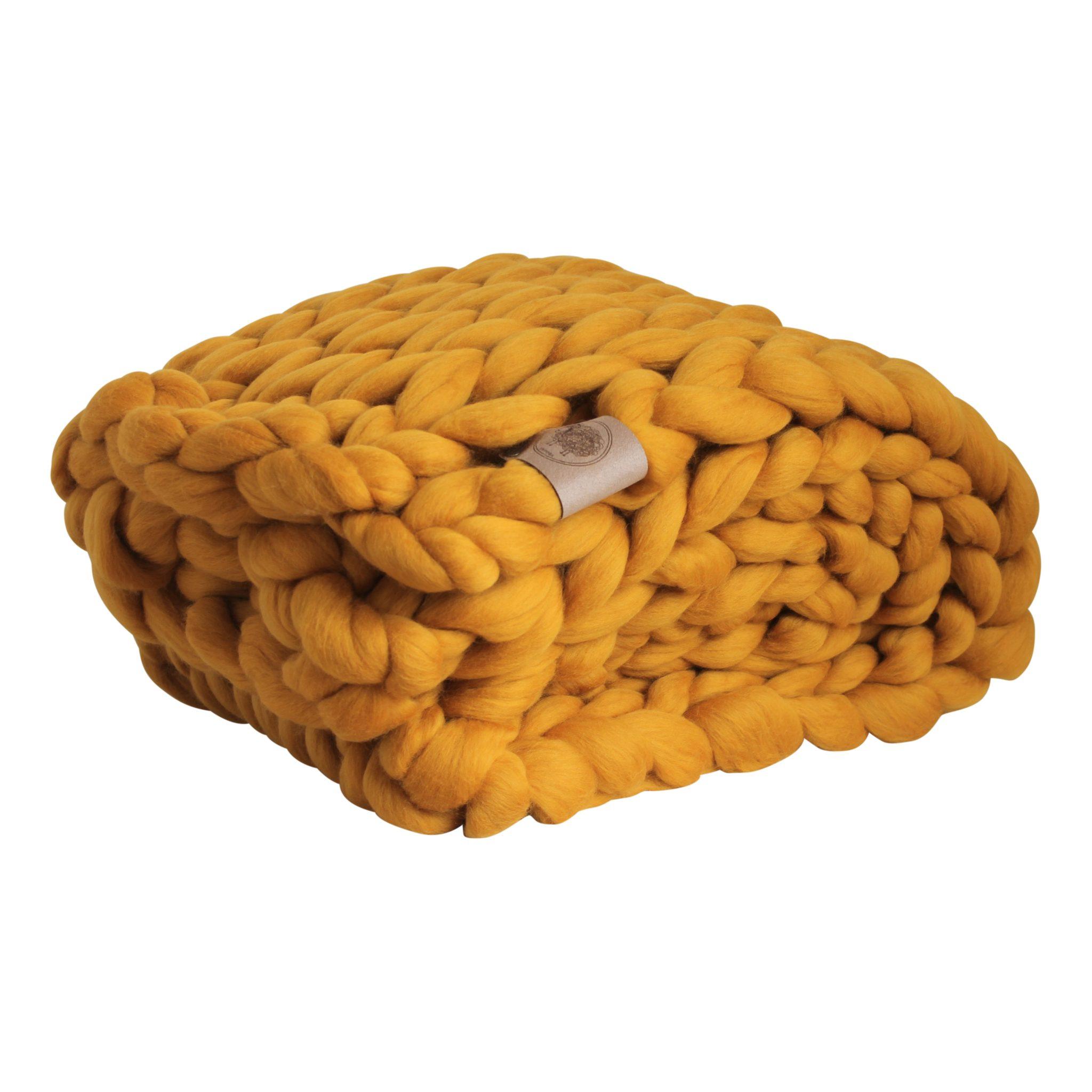 f48a37b37d0d93 wolletje bol bolletje wol chunky knit xxl merino wool woollen plaid blanket  throw pillow cushion mustard