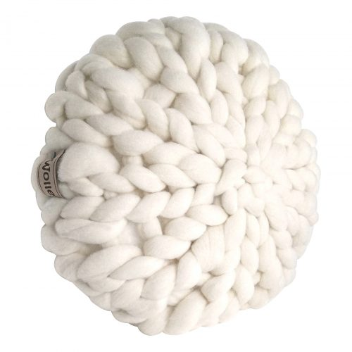 Wool white decorative pillow organic wool cream wolletje bol bolletje wol chunky knit merino woollen plaid blanket pillow cushion gots xxl do it yourself diy buy merino wool