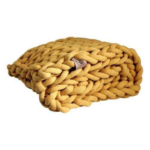 xxl knit crochet plaid bolletje wol bolletje wolletje mustard yellow sunny ochre throw chunky cotton vegan childfriendly animalfriendly